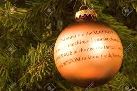 a ornament with the serenity prayer stock photo