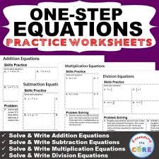 one step equations homework worksheets skills practice u0026 word
