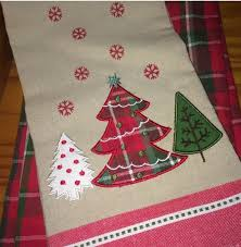 plaid christmas christmas kitchen towel applique embroidered tartan plaid