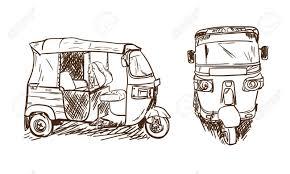 tuk tuk drawing sketch asian transportation moto taxi in
