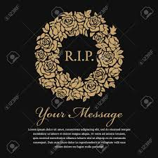 funeral card funeral card r i p text in circle gold wreath vector