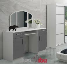 White High Gloss Bedroom Furniture Uk Modern Dressing Table Riwiera 2 With Mirror Drawers And Cabinets