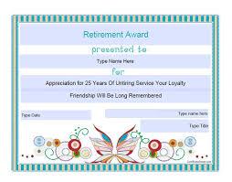 retirement certificate template retirement certificate template