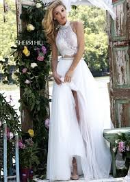 sherri hill 32347 ivory lace two piece evening gown