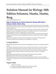 solution manual for biology 10th edition solomon martin martin