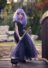 Girls Witch Halloween Costumes Black Purple Witch Costume Tutu Dress
