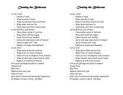 Bathroom Cleaning Schedule Form Bathroom Cleaning Checklist