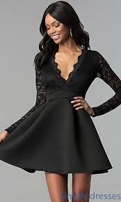 sleeved black dress open back lace bodice sleeved party dress