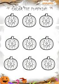 halloween math activity color the pumpkins logicroots