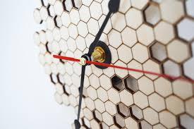 honeycomb clock wall clock modern clock laser cut wood clock