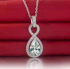 drop shaped necklace images Halo style promise love lab made pear shape synthetic diamonds jpg