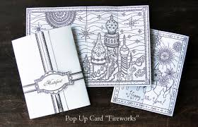 pop up card fireworks 3d coloring incl coloring pages