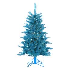 sterling 4 ft pre lit teal tinsel artificial tree 6036