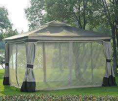 Mosquito Netting Curtains Soft Top Patio Gazebo Freestanding Metal Frame Canopy W Mosquito