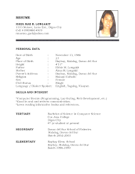 simple resume format free simple resume format philippines tagalog resume format toreto