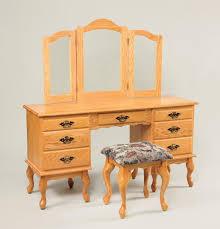 Oak Vanity Table With Drawers Amish Queen Anne Vanity Table