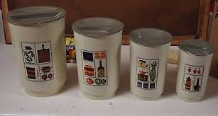 vintage kitchen canisters vintage set of 4 wood kitchen nesting canisters rooster flour sugar