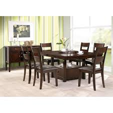 square dark brown wood dining table with drawer and shelf added by