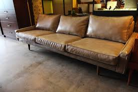 Century Leather Sofa Recycled Leather Mid Century Modern Sofa