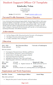 student cv student support officer cv template tips and cv plaza