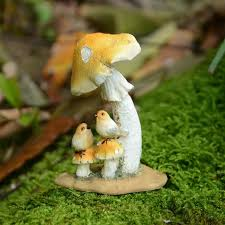 small frog birds resin mushrooms toadstool garden ornaments gnomes