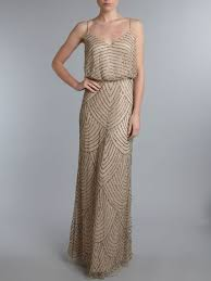 adrianna papell art deco beaded blouson gown taupe pink