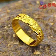 buy gold rings images Flat alluvial gold ring three models shipping jewelry imitation jpg