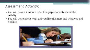 write reflection paper introductory class mr victor melendez vargas pedro perea fajardo assessment activity you will have a 1 minute reflection paper to write about the activity