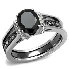 Stainless Steel Wedding Rings by New 2 Piece Stainless Steel Two Toned Onyx Black Cz Wedding Ring