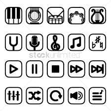 Meme Font Type - musical instruments and media player icons vector image 1534254