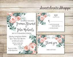 succulent wedding invitations succulent wedding invitation succulent and peony wedding set