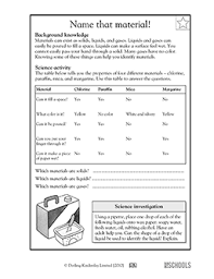 3rd grade 4th grade science worksheets solid liquid or gas