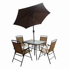 Glass Table Patio Set 6 Piece Patio Set Includes Deluxe Folding Chairs 32x38 Inch