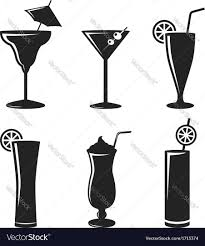martini silhouette vector cocktail drinks black web icon set royalty free vector image