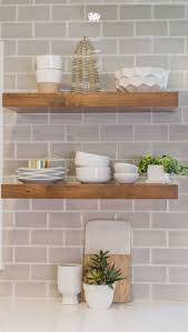 Woodworking Shelves Design by Kitchen Thick Wooden Shelves Design With Subway Tile Countertop