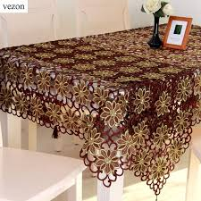 vezon new sale embroidery tablecloth coffee color