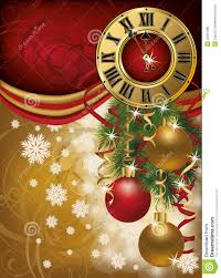 Invitation Card For Christmas New Year Invitation Card With Xmas Clock Royalty Free Stock Images