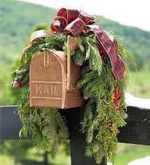 woodland evergreens mailbox swag with bow greenery