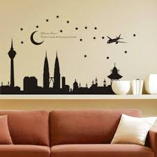 bedroom wall stickers 1pc high quality 140 77cm balck malaysia twin tower living room