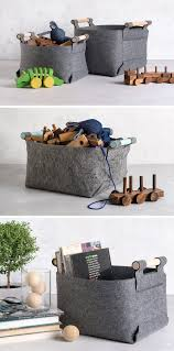 these minimalist grey felt baskets add style to storage contemporist