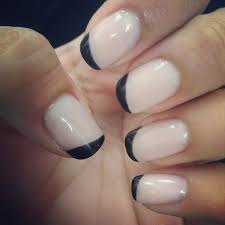 gel manicure with a black diagonal french tip manicures u0026 nail