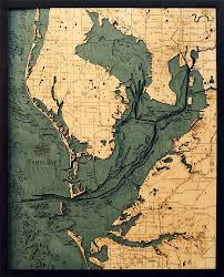 Map Tampa Florida by Tampa Bay Florida Wood Chart Wooden Map Nautical Art U2013 The