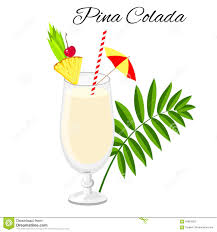cocktail party cartoon pina colada cocktail isolated on white stock vector image 94853352