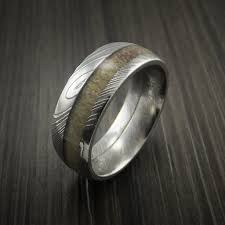 deer antler wedding band deer antler ring inlaid in solid damascus steel hunters wedding