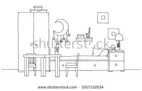 Bunk Bed Drawing Free Bunk Bed Room Vector Illustration Free Vector