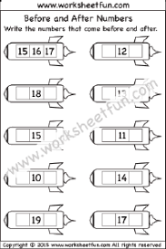 before and after numbers u2013 1 20 u2013 one worksheet math pinterest