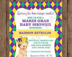 mardi gras baby mardi gras baby shower invitation baby girl printed