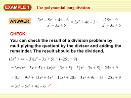 chapter 5 section 5 example 1 use polynomial long division divide