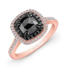 black gold engagement ring 14k gold halo cut black diamond center engagement