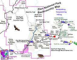 map of zion national park zion national park backcountry map backcountry map zion